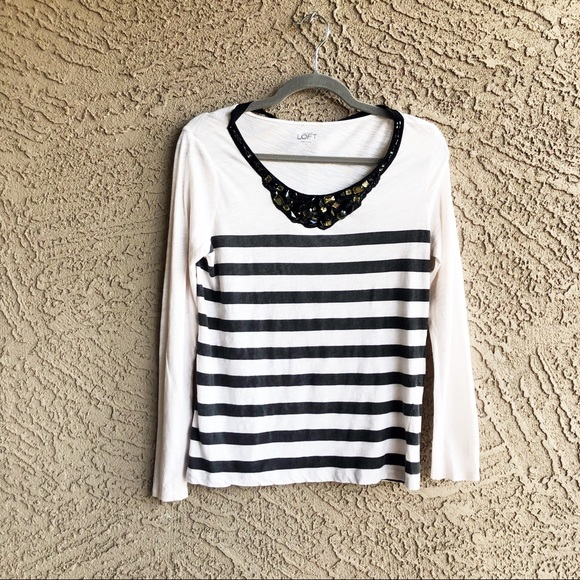 b26f4f8a LOFT Tops | Striped Jeweled Necklace Tshirt Top | Poshmark